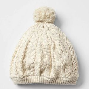 Baby Gap Cream Cableknit Beanie Hat
